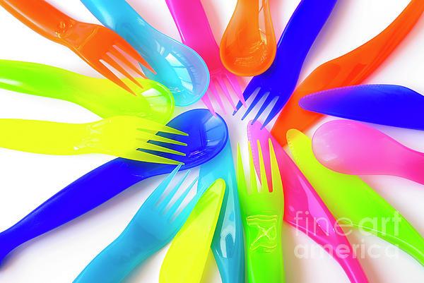 Baby Photograph - Plastic Cutlery by Carlos Caetano