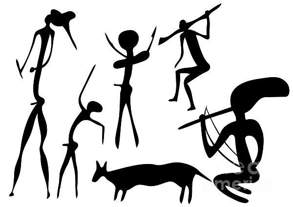 Primitive Drawing - Primitive Art - Various Figures by Michal Boubin
