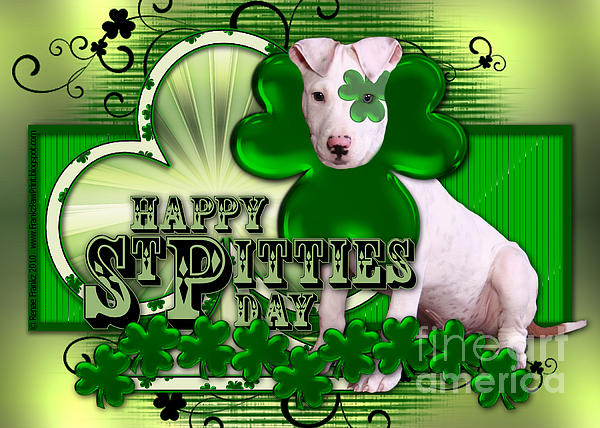 Pitbull Digital Art - St Patricks - Happy St Pitties Day by Renae Laughner