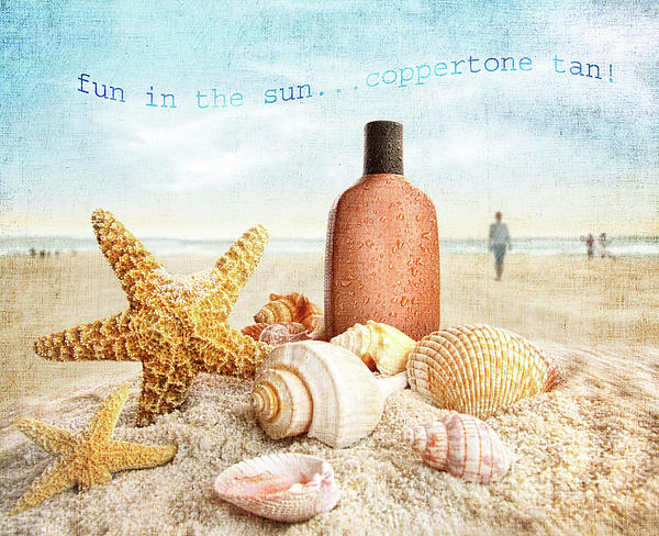 Background Photograph - Suntan Lotion And Seashells On The Beach by Sandra Cunningham