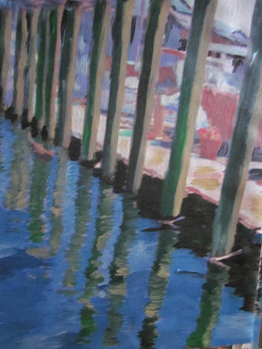 Water Painting - The Dock by David Poyant