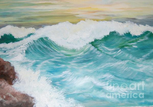 Ocean Painting - The Mighty Pacific by Janna Columbus