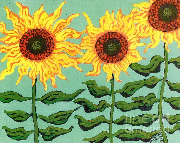 Sunflower Painting - Three Sunflowers by Genevieve Esson