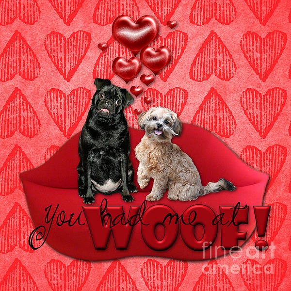 Pug Digital Art - Valentines - Sweetest Day - You Had Me At Woof by Renae Laughner