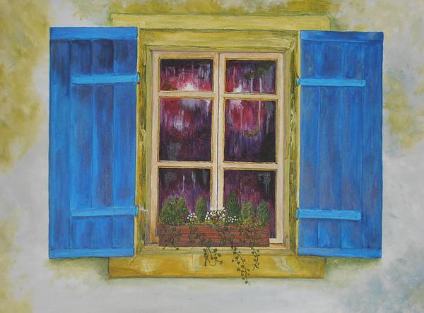 Window Shutters Painting - Viva Le Bleu by Siobhan Lawson