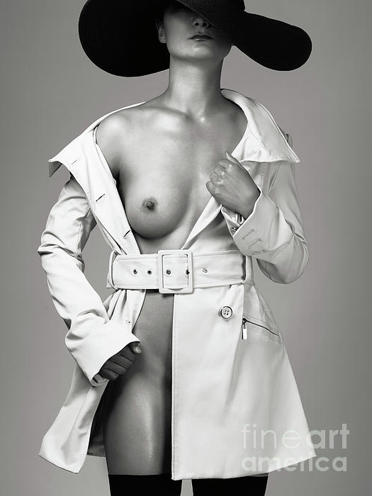 Sexy Photograph - Woman Wearing Trench Coat Over Naked Body by Oleksiy Maksymenko