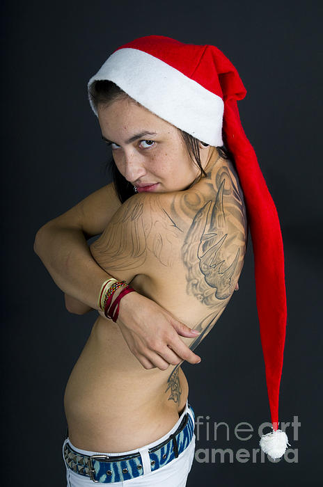 Christmas Card Photograph - Young Woman Wearing Santa Hat by Ilan Rosen