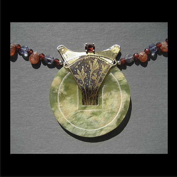 Bass Etching Jewelry - 156 Jade And Garnet by Brenda Berdnik