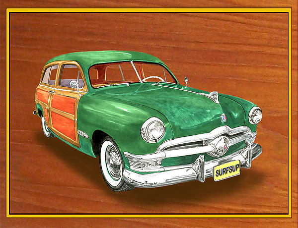 1950 Ford Country Squire Woody Painting by Jack Pumphrey