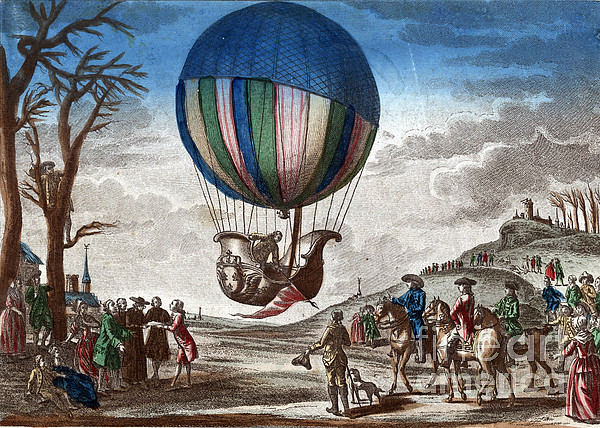 Technology Photograph - 1st Manned Hydrogen Balloon Flight, 1783 by Photo Researchers