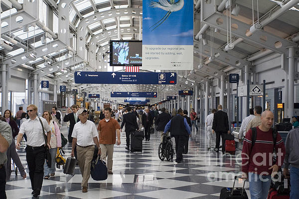 Horizontal Photograph - Busy Airport Terminal Concourse At Chicagos Ohare Airport by Christopher Purcell