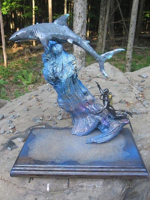 Great White Shark Sculpture - Murphdogmetal.com by Mike Murphy