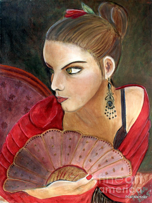 Flamenco Painting - The Flamenco Dancer by Pilar  Martinez-Byrne