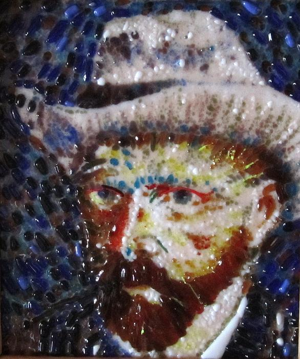 Fused Stained Glass Painting - Van Gough by Gladys Espenson