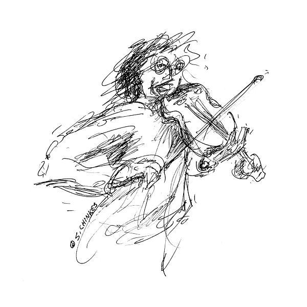 Music Violinist Painting - Violinist by Sam Chinkes
