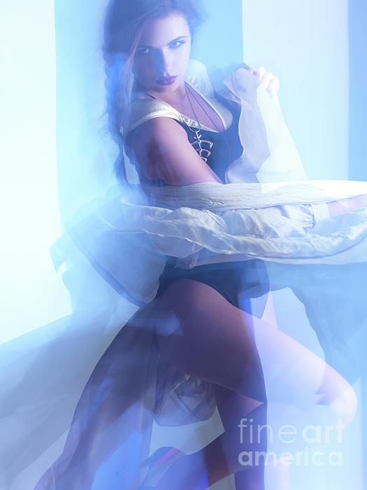 Fashion Photograph - Fashion Photo Of A Woman In Shining Blue Settings by Oleksiy Maksymenko