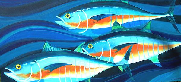 3 Fish School Painting by Mark Jennings