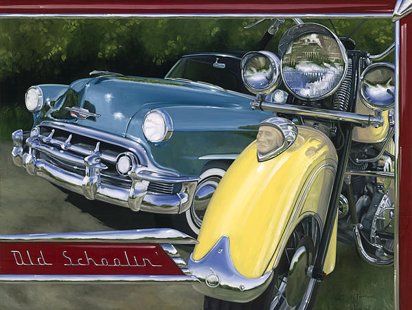 1953 Chevy Painting - Old Schoolin by Lucretia Torva