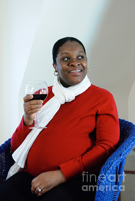 African American Photograph - Pregnant Woman Drinking Wine by Photo Researchers