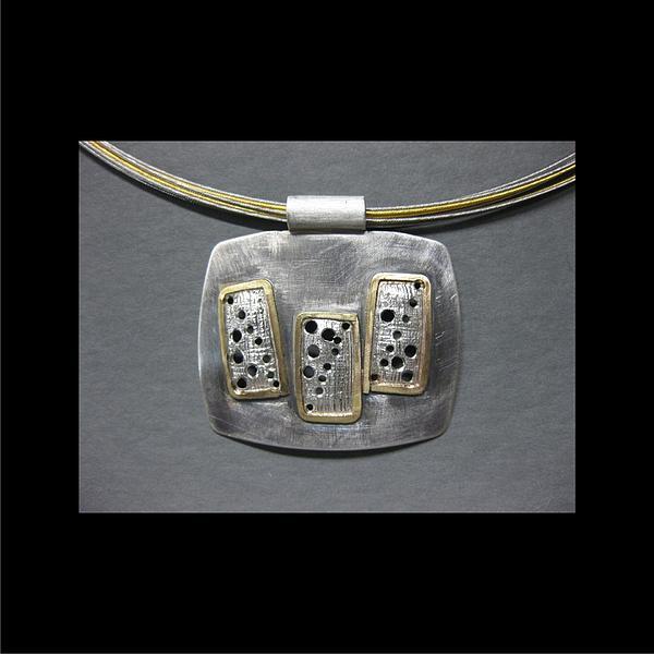 Graphic Design Jewelry - 351 Pendant Screen Work Three Rectangles by Brenda Berdnik