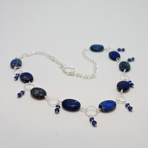 Swarovski Crystals Jewelry - 3589 Blue Sea Sediment Jasper Necklace by Teresa Mucha
