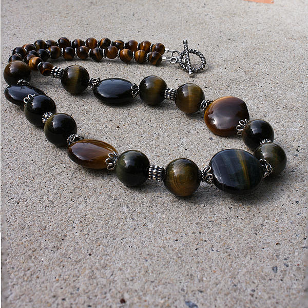 Semi Precious Gemstones Jewelry - 3595 Tigereye And Bali Sterling Silver Necklace by Teresa Mucha