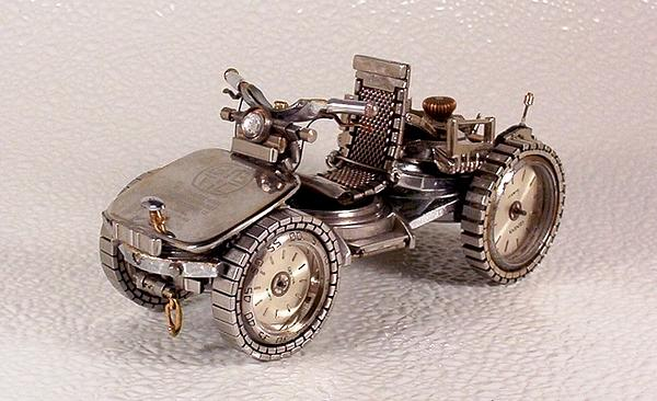 Motorcycles Out Of Watch Parts Sculpture - Motorcycles Out Of Watch Parts by Dmitriy Khristenko