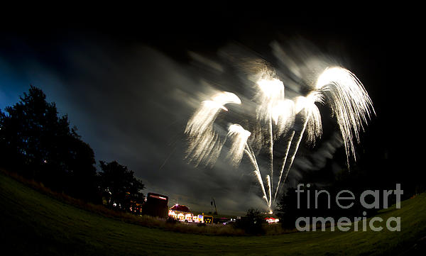 Night Photograph - Fireworks by Angel Ciesniarska
