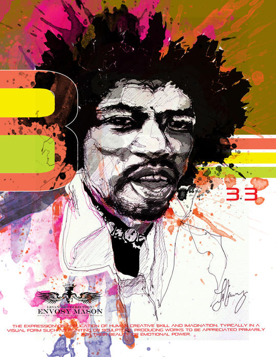 Guitar Drawings Mixed Media - Jimi 333 by Bobby LeVangie