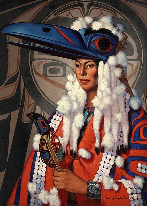 Illustration Photograph - A Bellacoola Woman Wears A Raven by W. Langdon Kihn