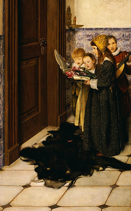 A Carol (oil On Panel) Painting - A Carol by Laura Theresa Alma-Tadema