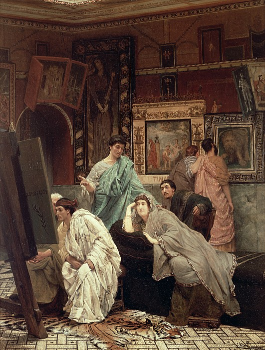 Collector Painting - A Collector Of Pictures At The Time Of Augustus by Sir Lawrence Alma-Tadema