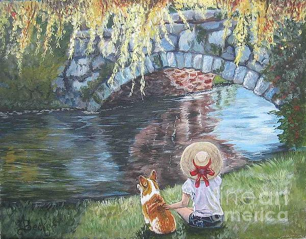 Dog Painting - A Day By The Stone Bridge by Ann Becker