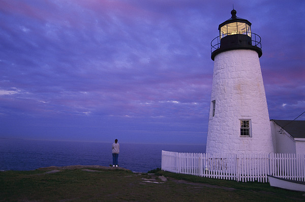 North America Photograph - A Lighthouse Visitor Enjoys A Twilight by Stephen St. John