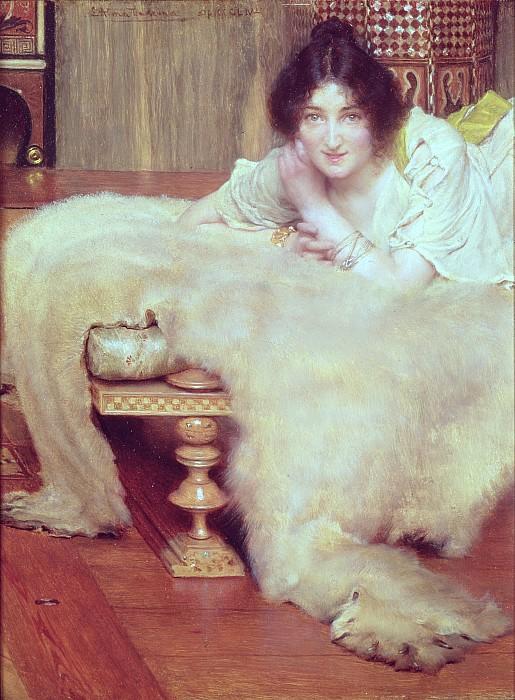 Listener Painting - A Listener - The Bear Rug by Sir Lawrence Alma-Tadema