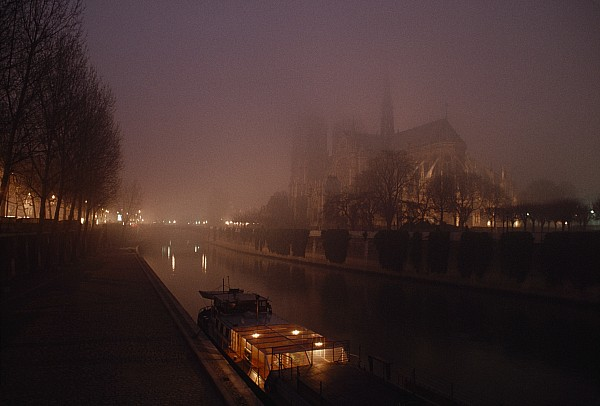 Night Photograph - A Night View Across The Seine Towards by James L. Stanfield