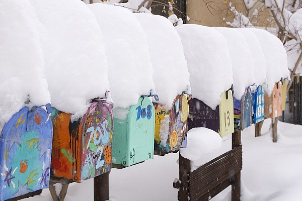 American Southwest Photograph - A Row Of Mailboxes In Winter by Ralph Lee Hopkins