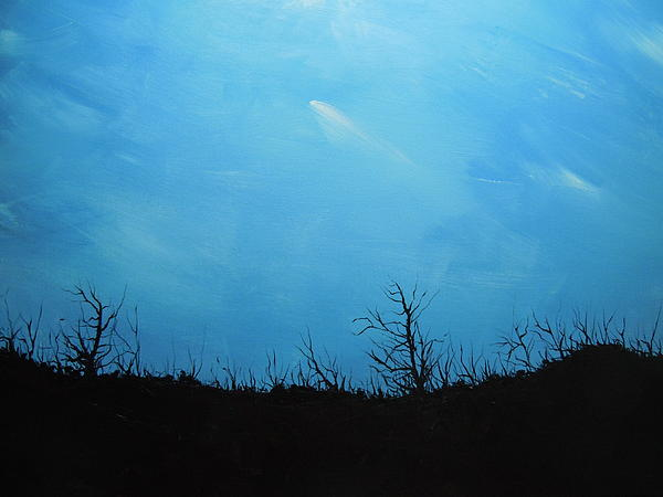 Bright Night Painting - A Shooting Star In An Azure Sky by Dan Whittemore