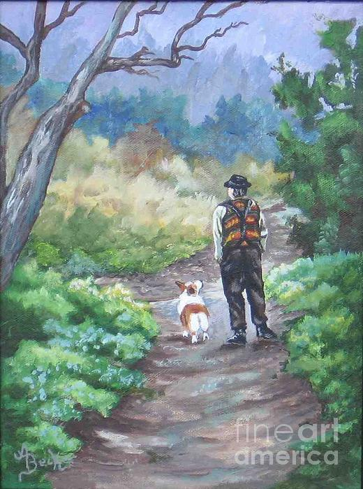 Dog Painting - A Slow Walk In The Woods by Ann Becker