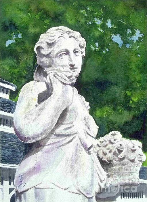 Statue Painting - A Statue At The Wellers Carriage House -1 by Yoshiko Mishina