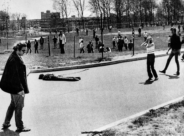 History Photograph - A Student Lies Dead At Kent State by Everett