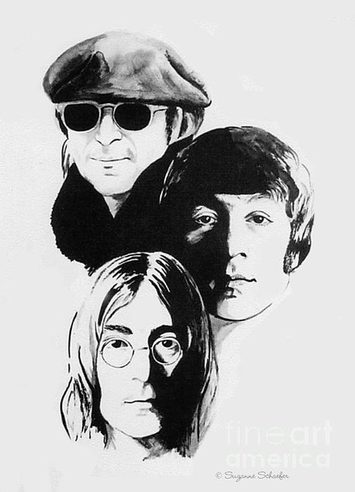 Ink Drawing Drawing - A Tribute To Lennon by Suzanne Schaefer