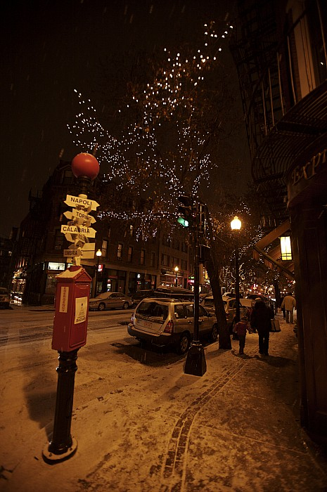 Boston Photograph - A Winter Evening In Bostons North End by Tim Laman