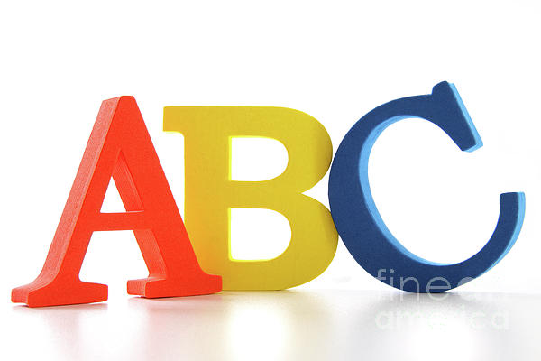 Abc Photograph - Abc Letters On White  by Sandra Cunningham
