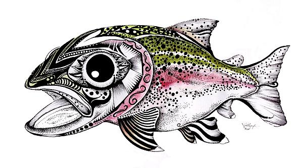 Rainbow Trout Painting - Abstract Alaskan Rainbow Trout by J Vincent Scarpace