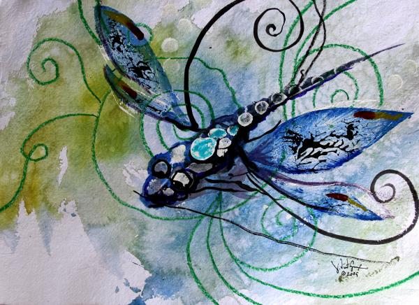 Dragonfly Painting - Abstract Dragonfly 10 by J Vincent Scarpace