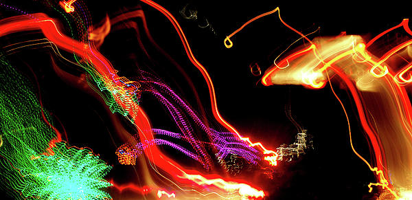 Christmas Photograph - Abstract Neon Lights by Jera Sky
