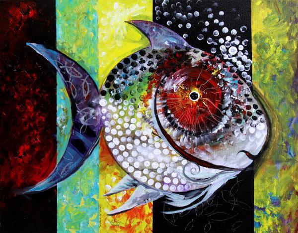 Acid Painting - Acidfish 70 by J Vincent Scarpace