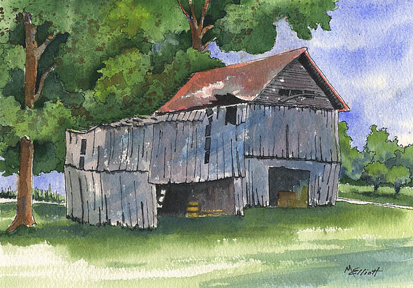 Old Painting - Across From Andies by Marsha Elliott