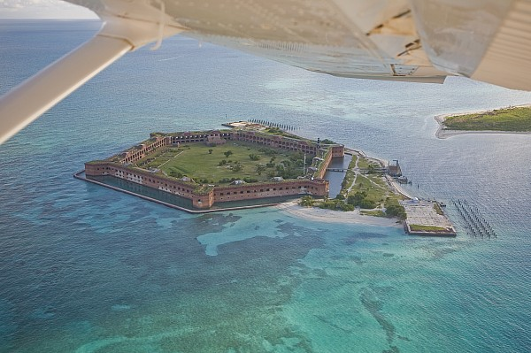 Day Photograph - Aerial Of Fort Jeffereson, At Dry by Mike Theiss